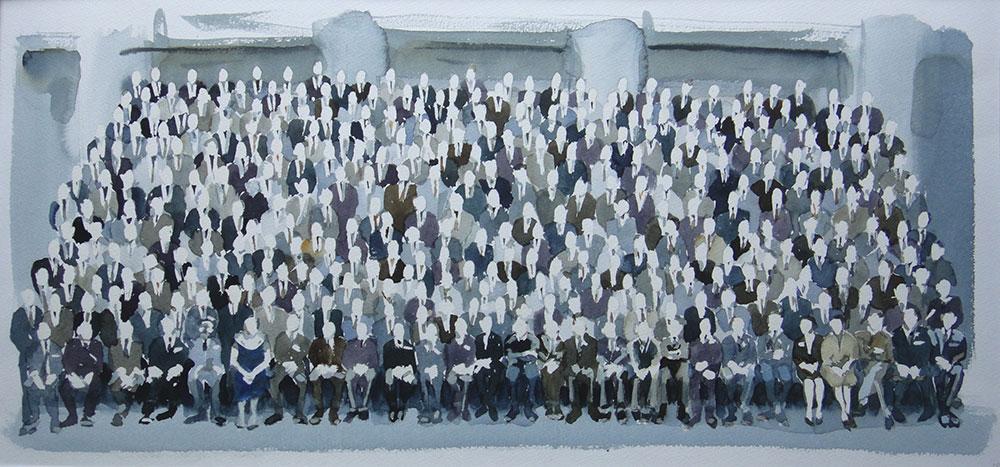 Schooldays, aquarel, 40 x 80 cm.