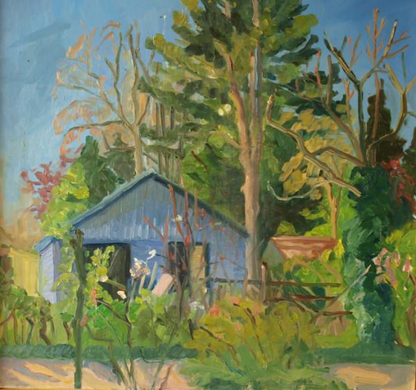 blauwe-tuinhuis-olieverf-op-paneel-60cm-x-60cm-2020
